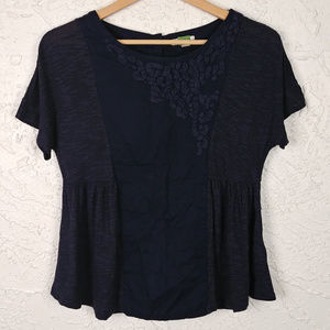 ett:twa Anthro embroidered button back top